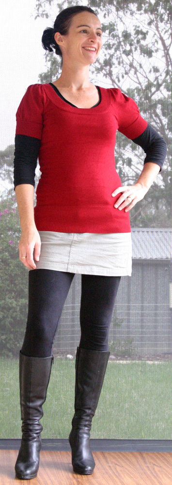 3 Red Knit Top