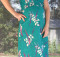 12 Green Long Floral Dress